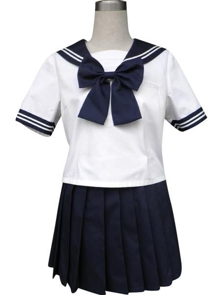 Milanoo Royal Blue Solide Short Sleeves Sailor School Uniform Cosplay Costume Halloween