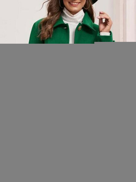 Milanoo Woman Coat Turndown Collar Buttons Casual Oversized Green Winter Coat