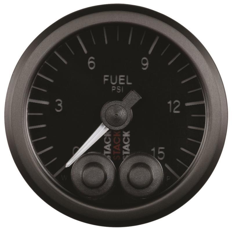 AutoMeter GAUGE; FUEL PRESS; PRO-CONTROL; 52MM; BLK; 0-15PSI; 1/8in. NPTF MALE