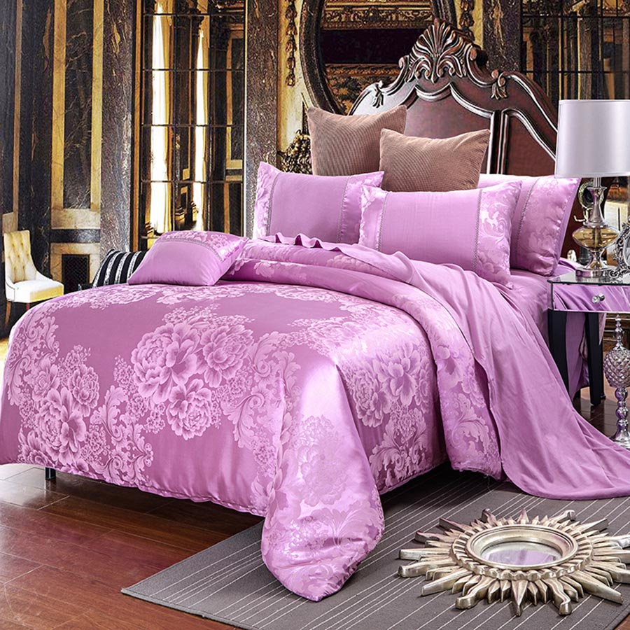 Peonies Jacquard Style Shiny Satin Blush Pink 4-Piece Bedding Sets/Duvet Cover