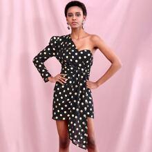 Kleid mit Gigotaermeln und Punkten Muster