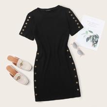 Button Detail Rib-knit Dress