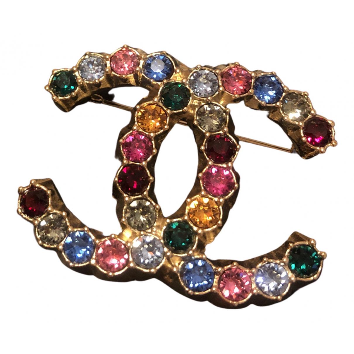 Chanel - Broche CC pour femme en cristal - multicolore