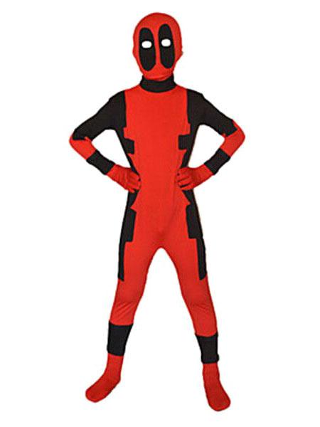 Milanoo Kids Deadpool Costume Children Red Cosplay Suphero Spandex zentai Suit Full Body Suit
