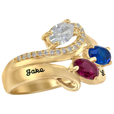 Artcarved Celebrations Of Life 14.5MM Simulated Multi Color Stone 10K Gold Over Silver Band, 6 , No Color Family
