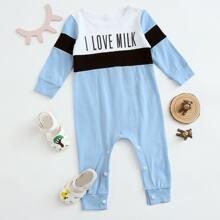 Baby Boy Colorblock Slogan Graphic Jumpsuit