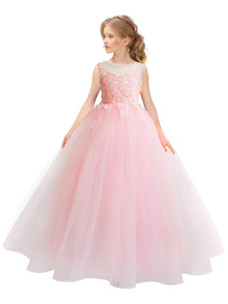 Milanoo Flower Girl Dresses Jewel Neck Taffeta Sleeveless Ankle Length A-Line Lace Kids Party Dresses