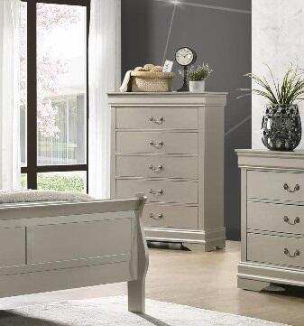 Louis Philippe Collection LP900-CH Chest with 5 Drawers and Metal Center Glides in Silver