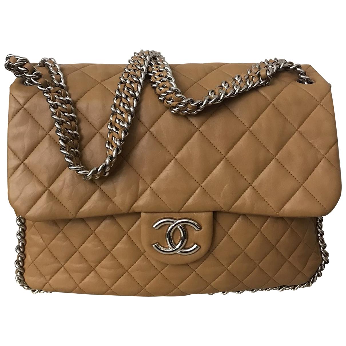 Chanel - Sac a main Chain Around pour femme en cuir - camel