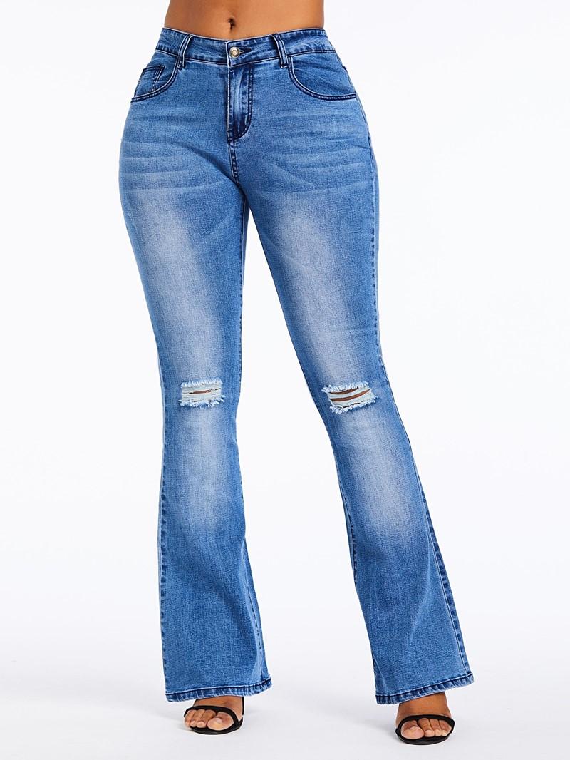 Ericdress Bellbottoms Hole Plain High Waist Zipper Jeans