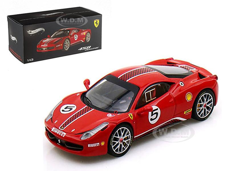 Ferrari 458 Italia Challenge 5 Red Elite Edition 1/43 Diecast Car Model by Hotwheels