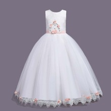 Girls Contrast Lace Rhinestone Front Wedding Dress
