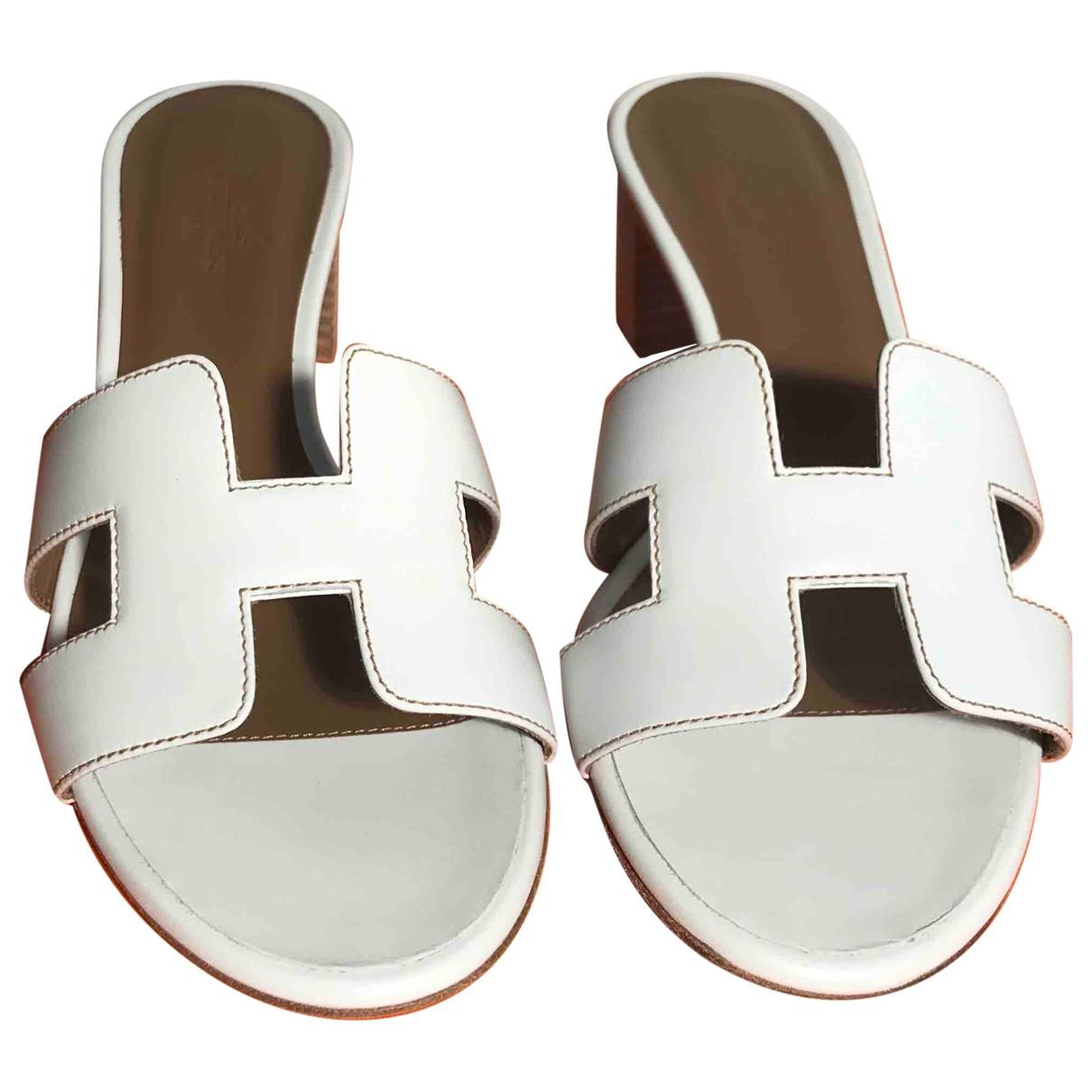Hermes - Sandales Oasis pour femme en cuir - blanc