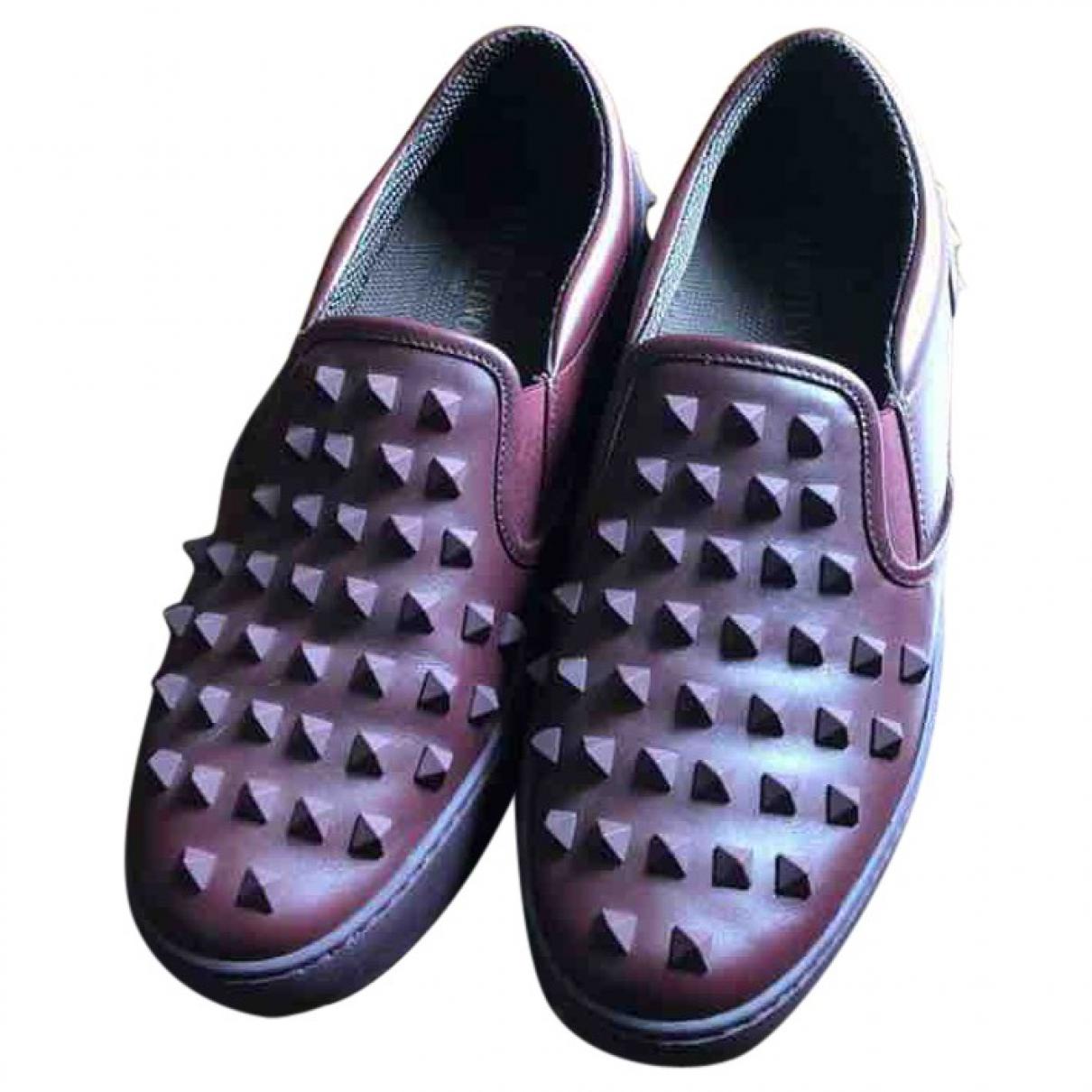 Valentino Garavani \N Burgundy Leather Trainers for Women 38 EU