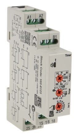 RS PRO DPDT Time Delay Relay -, DIN Rail