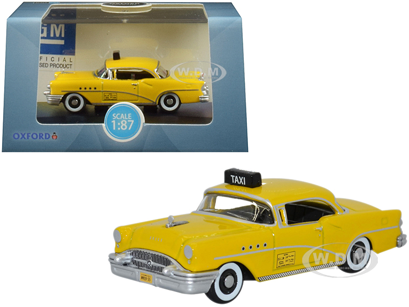 1955 Buick Century New York City Taxi Yellow 1/87 (HO) Scale Diecast Model Car by Oxford Diecast