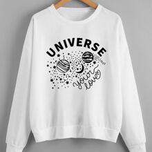 Sweatshirt mit Buchstaben & Galaxie Muster