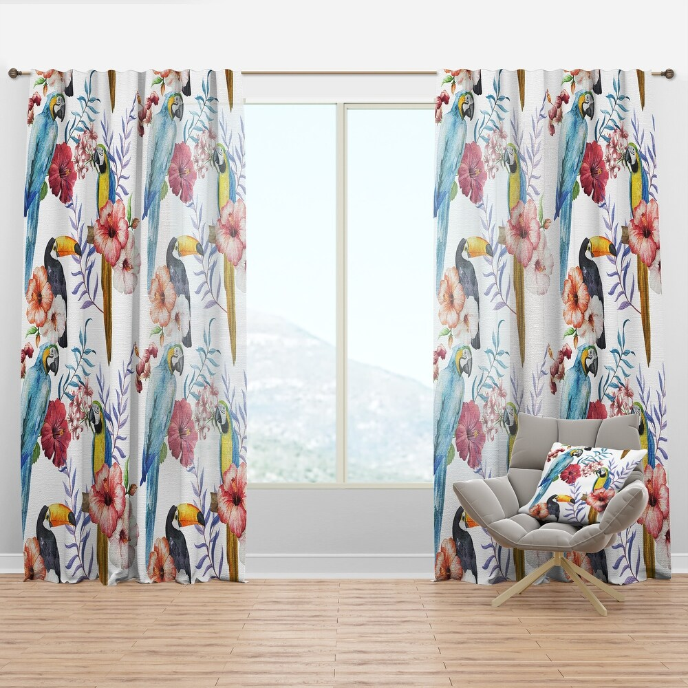 Designart 'Parrots, Hibiscus and Toucan' Animals Curtain Panel (50 in. wide x 84 in. high - 1 Panel)