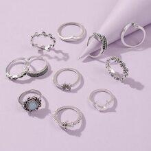 11 Stuecke Ring mit Blatt Design