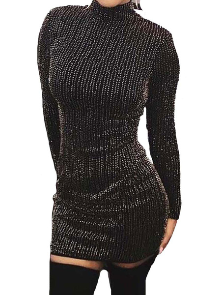 Milanoo Women\'s Club Dress Black Jewel Neck Long Sleeves Polyester Sexy Dress