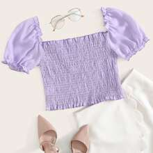 Puff Sleeve Shirred Detail Crop Top