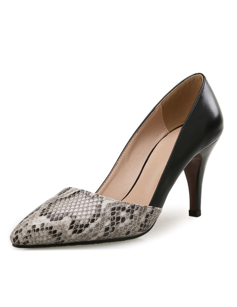 Milanoo Black High Heels Women's Pointed Toe Snake Print Patchwork Slip On Pumps