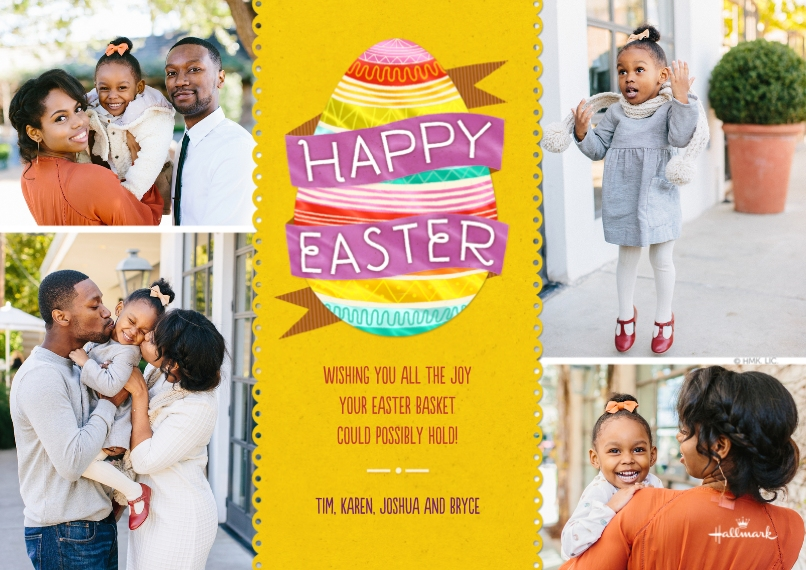 Easter Cards 5x7 Cards, Premium Cardstock 120lb with Scalloped Corners, Card & Stationery -Happy Easter Egg