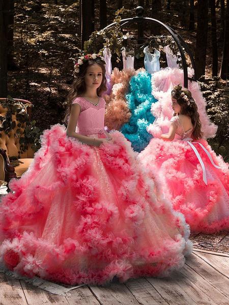 Milanoo Flower Girl Dresses Jewel Neck Sleeveless Tiered Formal Kids Pageant Dresses