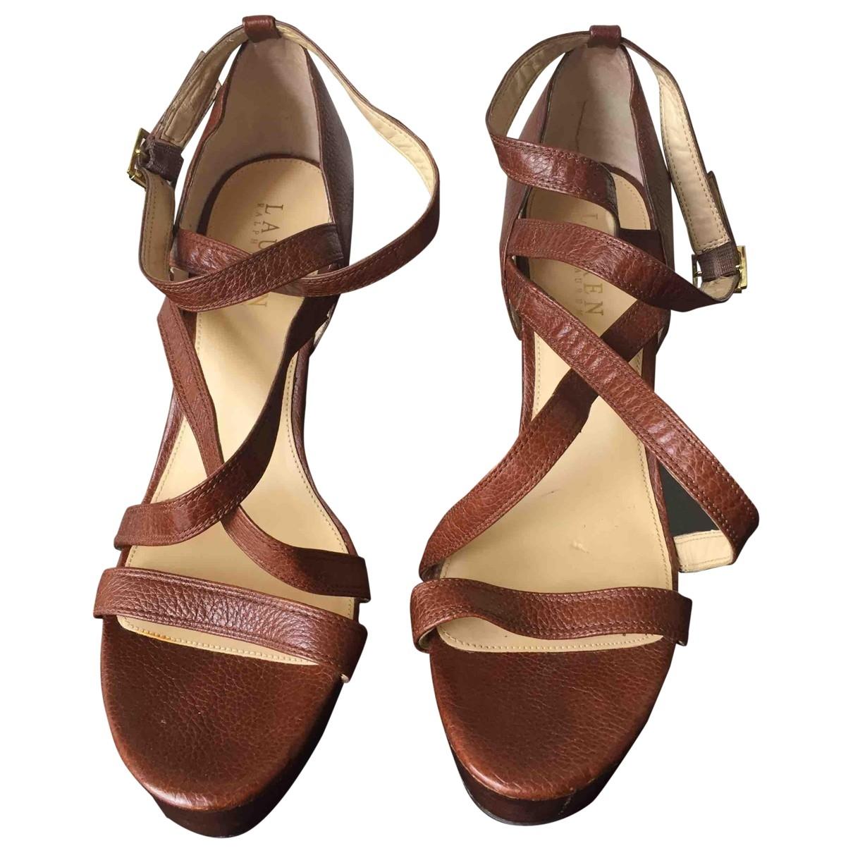Lauren Ralph Lauren \N Camel Leather Sandals for Women 9 US