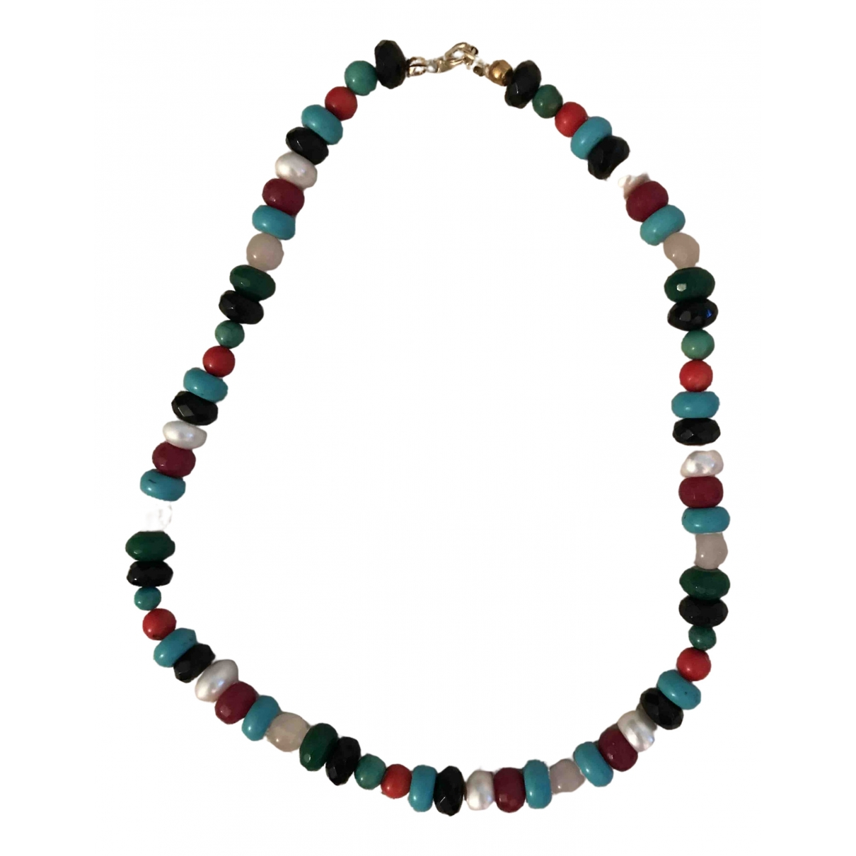 Non Signe / Unsigned Turquoises Kette in  Bunt Perlen