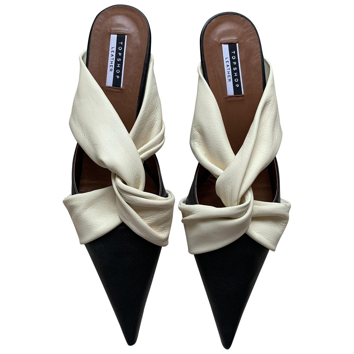 Topshop - Escarpins   pour femme en cuir - noir