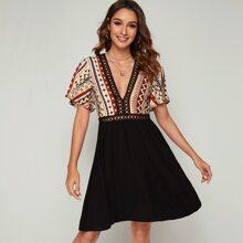Lace Trim Tribal Print Dress