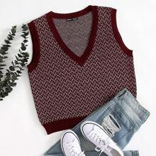 Pullover Weste mit V Kragen