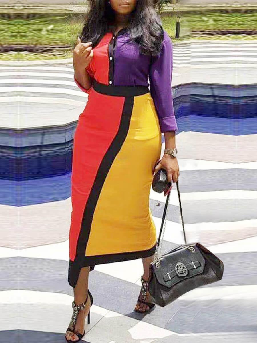 LW Lovely Trendy Turndown Collar Patchwork Red Mid Calf Dress