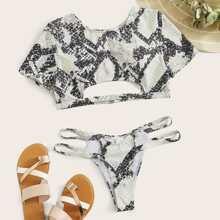 Snakeskin Short Sleeve Cutout Bikini Swimsuit