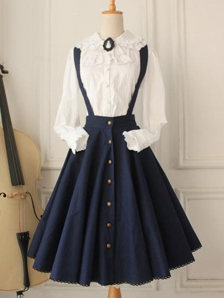Milanoo Classical Lolita Dress Military Style Cross Regression Lolita Salopette Button Suspender Skirt