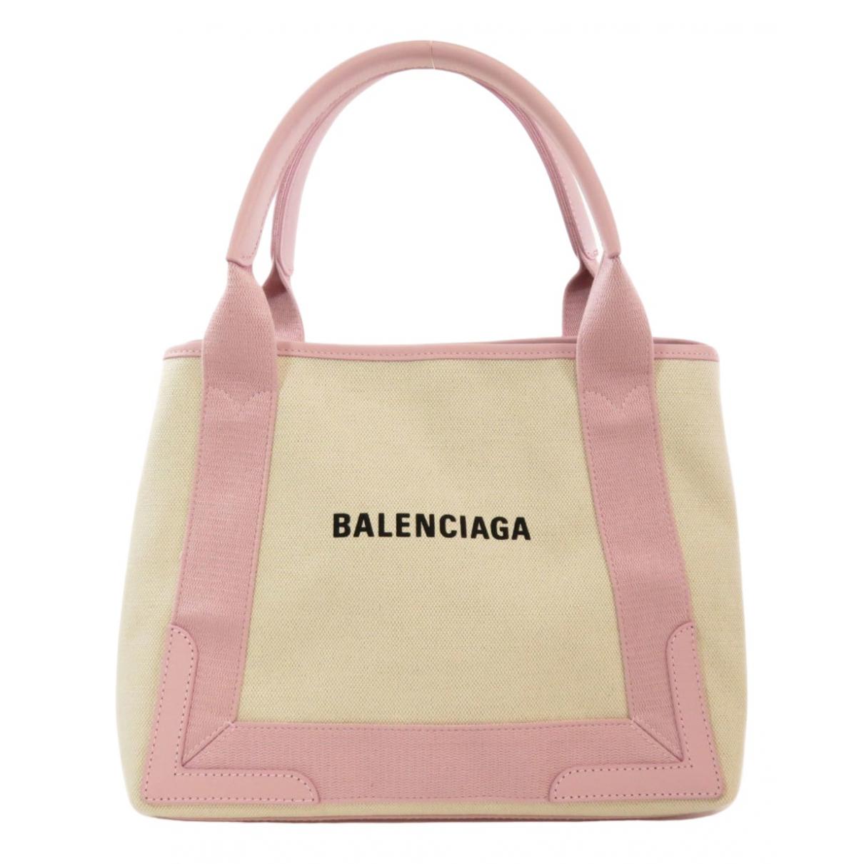 Balenciaga Navy cabas Ecru Cloth handbag for Women \N