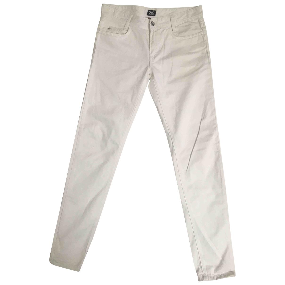 Pantalon en Algodon Blanco D&g
