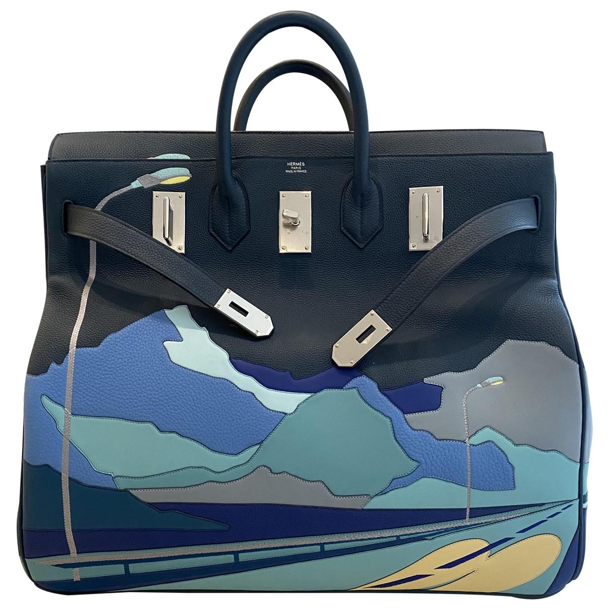 Hermès Haut à Courroies Blue Leather Travel bag for Women \N