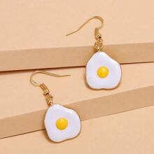 Poached Egg Shaped Drop Earrings