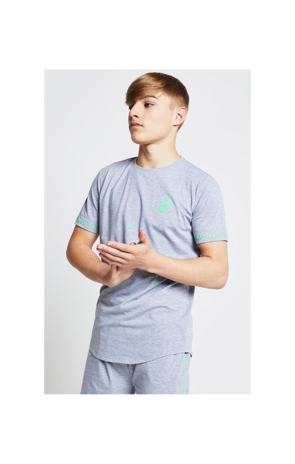 Illusive London Tee  Grey & Neon Green Kids Top Sizes: 15 YRS