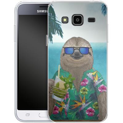 Samsung Galaxy J3 (2016) Silikon Handyhuelle - Summer Sloth Drinking Mojito von Barruf