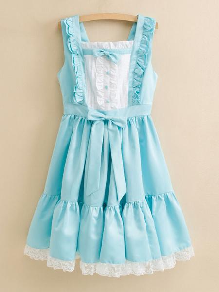 Milanoo Sweet Lolita Dress JSK Satin Aqua Sleeveless Lolita Jumper Skirt