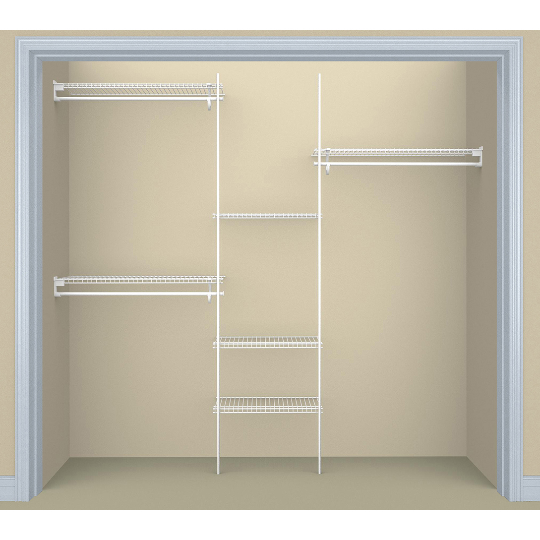 SuperSlide Closet Organizer Kit 5'- 8' W Fixed Mount, White