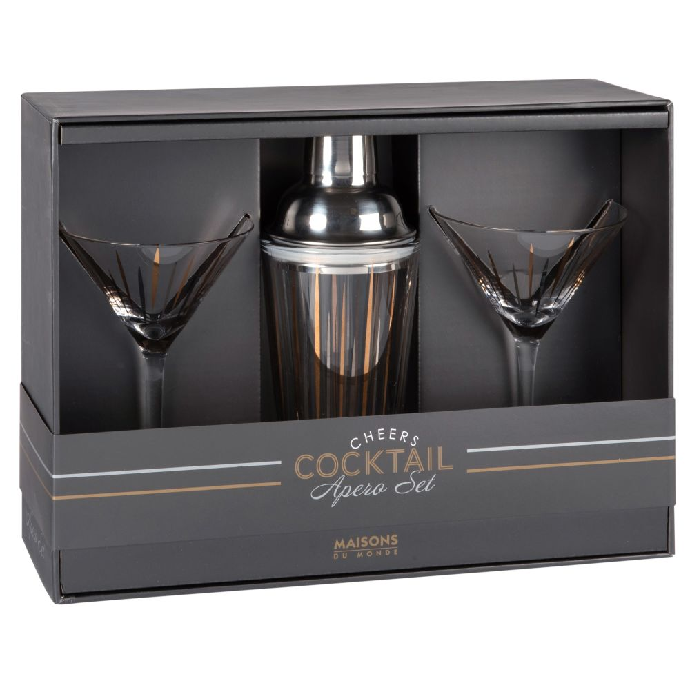 Set aus 2 Cocktailglaesern aus Riffelglas und Shaker