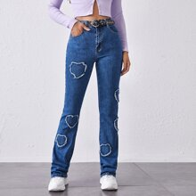 Heart Detail Flare Leg Jeans