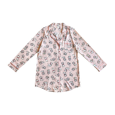 Womens Juniors Long Sleeve Nightshirt, Medium , Pink