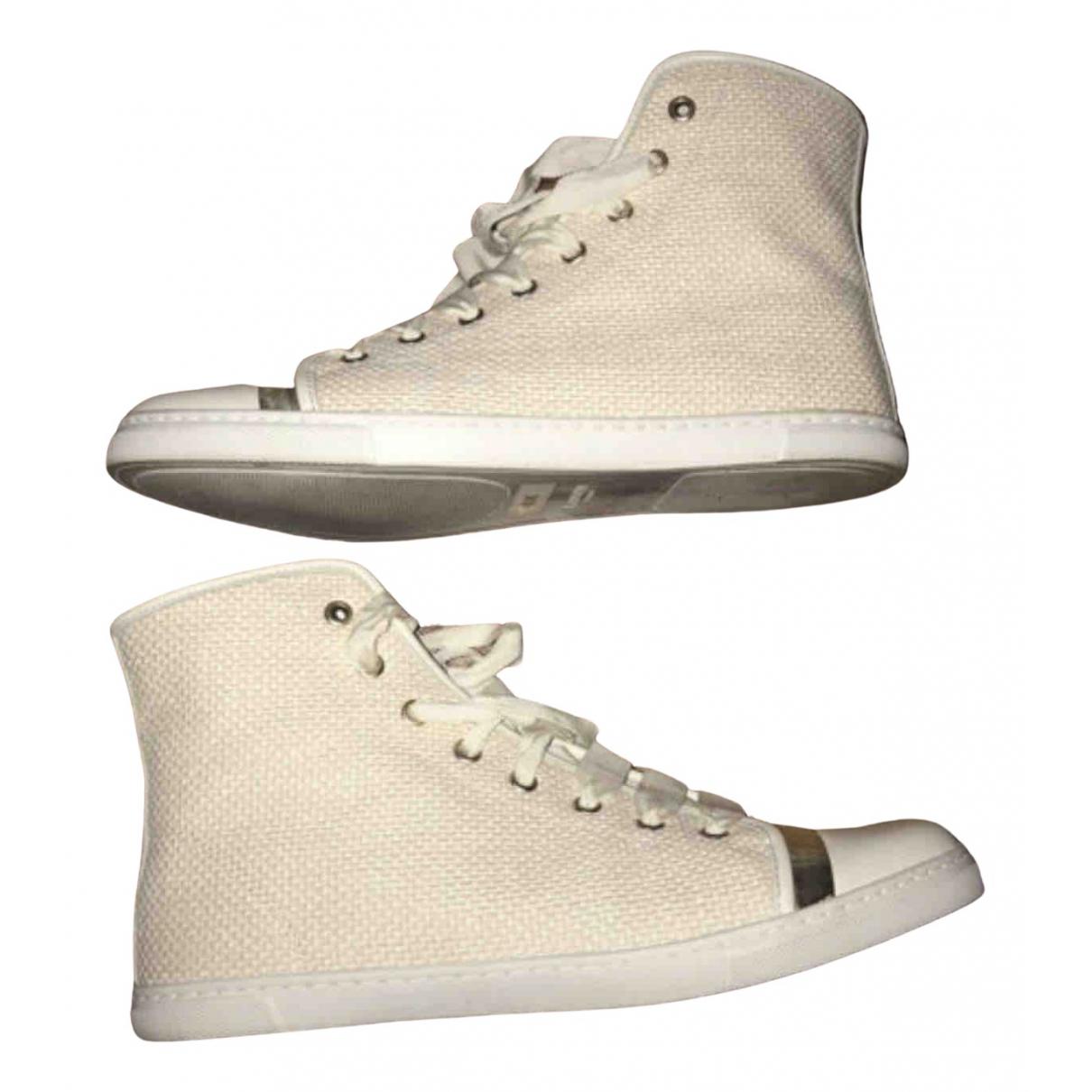 Lanvin \N Sneakers in  Ecru Leinen