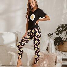 Pajama Set mit Eier und Speck Muster