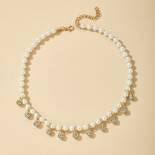 Rhinestone Decor Faux Pearl Beaded Necklace